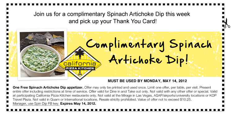 california pizza kitchen offers thanks to customers - California Pizza Kitchen Coupon
