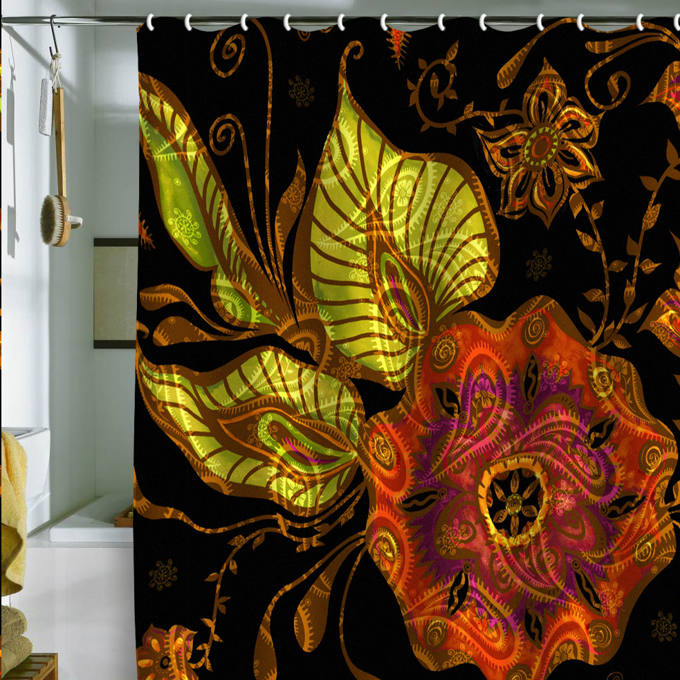 Gina Rivas Exotic Floral Shower Curtain Archives
