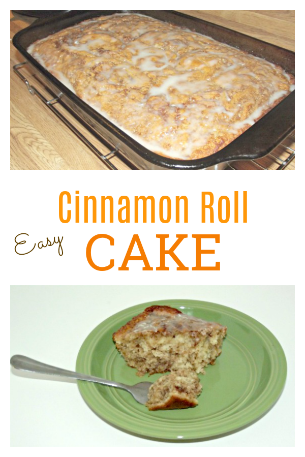 This easy Cinnamon Roll Cake Recipe tastes just like cinnamon rolls, but with a lot less work involved! It makes a delicious dessert or breakfast.