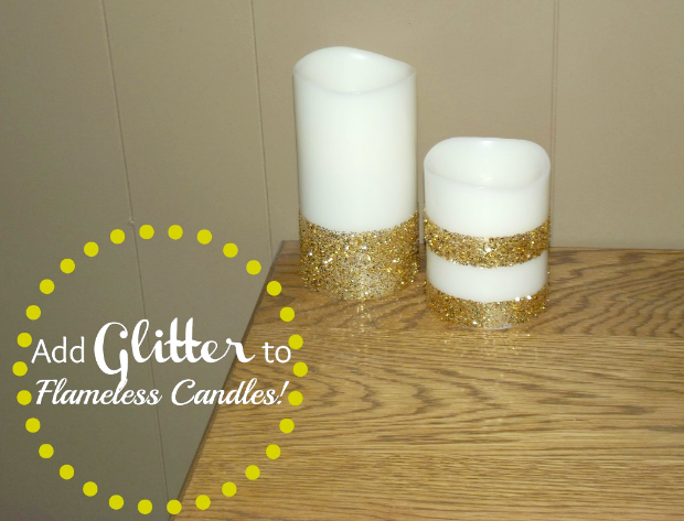Flameless Candle Makeover with Glitter