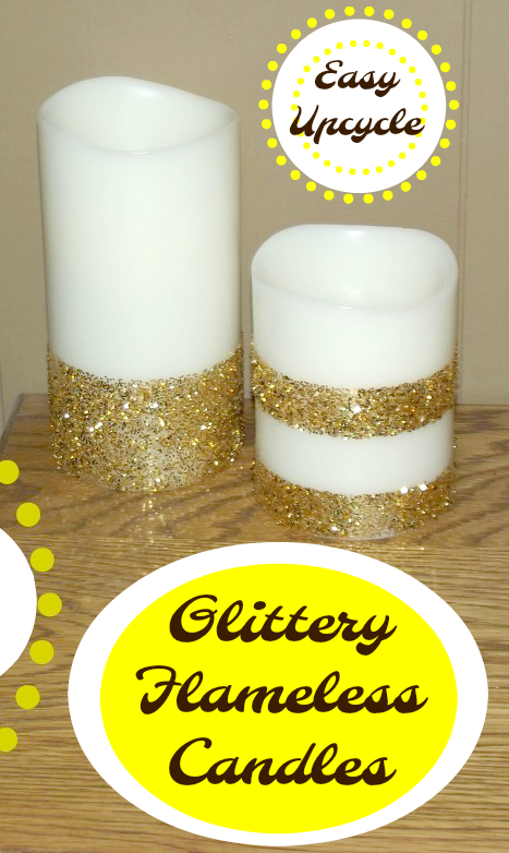 Create an easy upcycle with this Flameless Candle Makeover! Use glitter and spray adhesive to create this pretty candles with only a few simple steps!