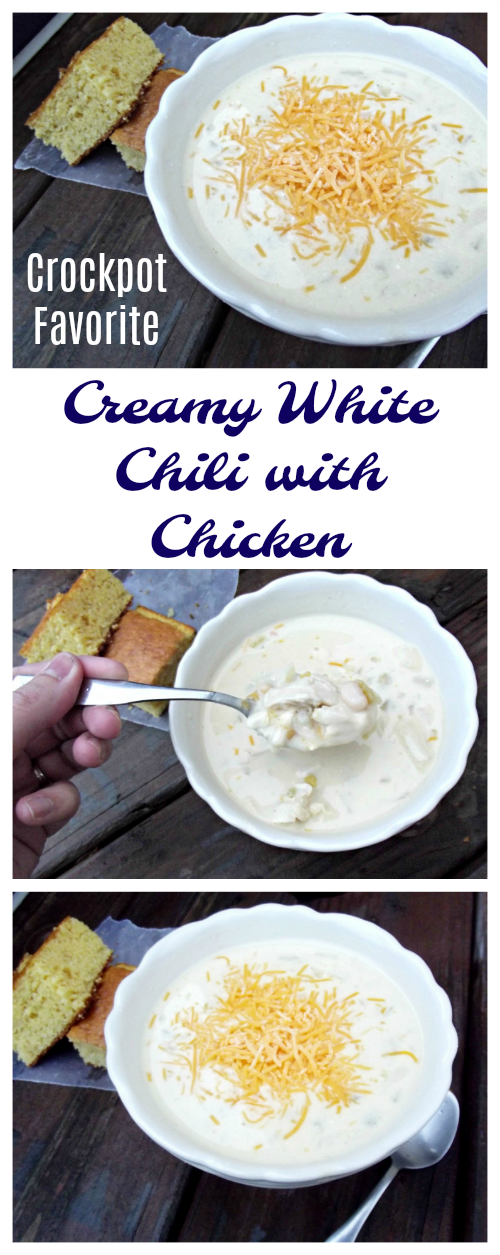 This Crockpot Creamy White Chili with Chicken is easy to make and super delicious! Serve it with cornbread for an easy dinner any night of the week.