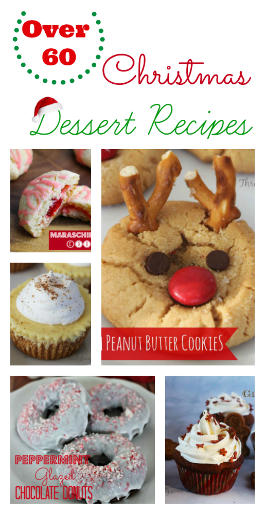 This huge list of over 60 Christmas Dessert Recipes has something for everyone! From cookies to cakes and everything in between, enjoy the flavors of gingerbread, peppermint, chocolate, egg nog and more!