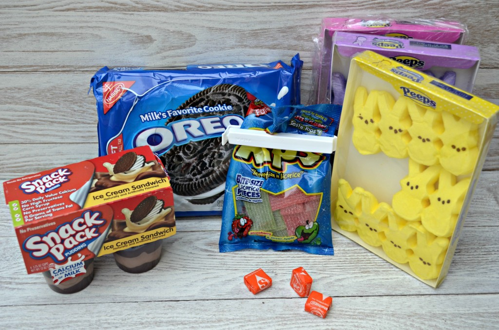 Peeps Oreo Pudding Cups Ingredients with Snack Pack, Oreo, Rips, Starburst, Peeps