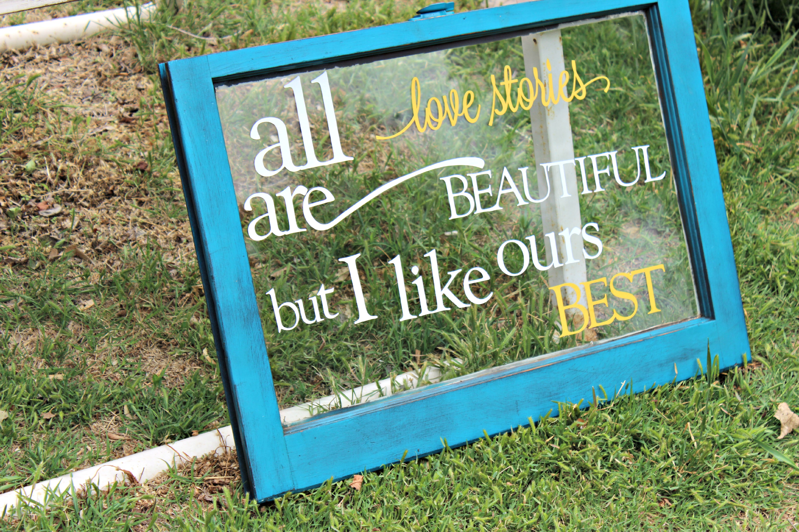 turn an old window into wall decor with fresh paint and quote. Black Bedroom Furniture Sets. Home Design Ideas