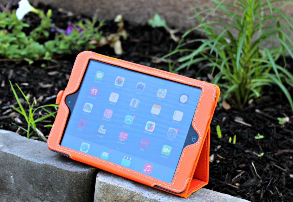 Snugg iPad mini PU Leather Case Cover and Flip Stand in Orange