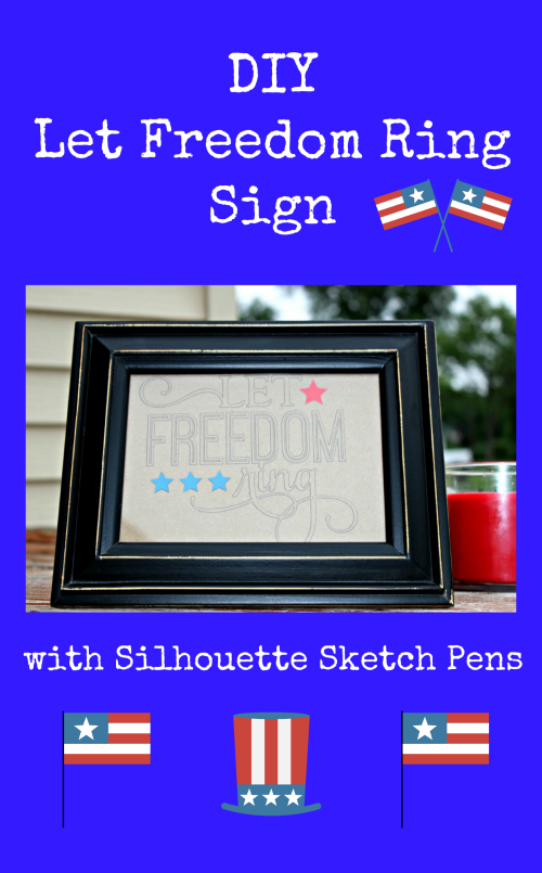 This DIY Let Freedom Ring Sign with Silhouette Sketch Pens is perfect for celebrating the 4th of July!