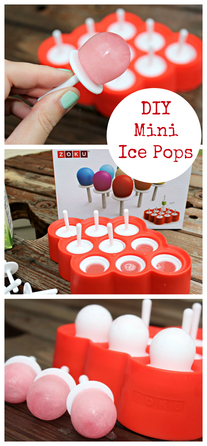DIY Mini Ice Pops are easy to make and fun to eat! You can experiment with all kinds of fruit juices and flavors and make tiny frozen treats that are just right for a yummy after school or summer treat for the kids or a low calorie snack for you!
