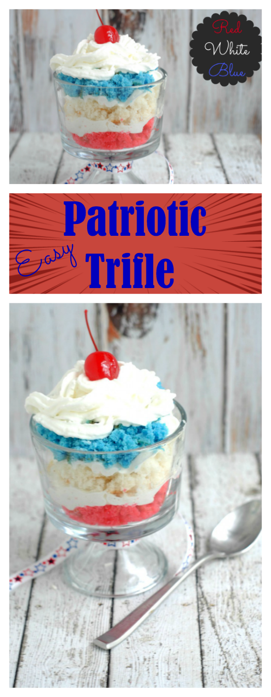 This easy red, white and blue patriotic trifle recipe combines layers of cake with whipped cream for a delicious and pretty dessert that is perfect for the 4th of July, Memorial Day or any summer holiday!