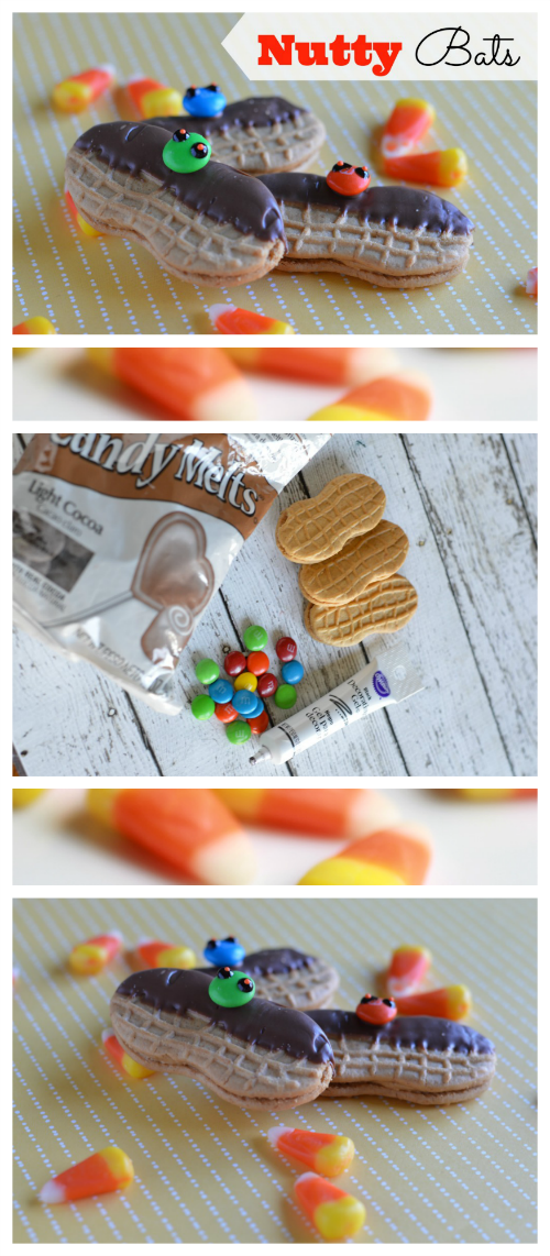 Nutty Bats Halloween Treats are fun to make with Nutter Butter Cookies, Melting Chocolate and M&Ms!