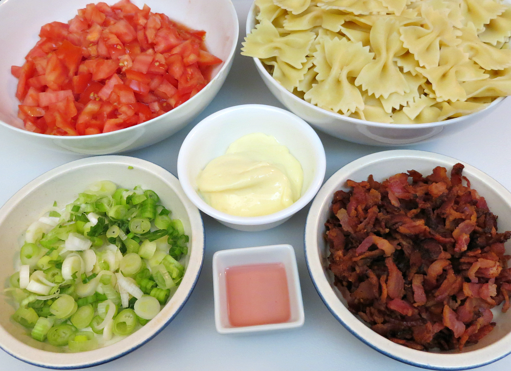 Bowtie Pasta Salad with Bacon & Tomatoes - Ingredients