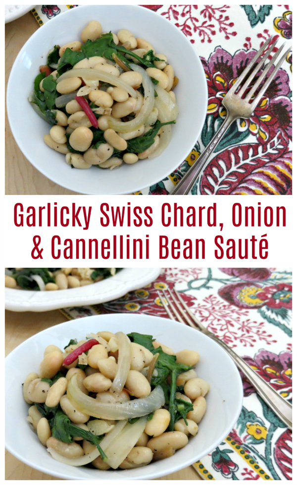 Bring on the garlic with this Garlicky Swiss Chard, Onion & Cannellini Bean Sauté Recipe!