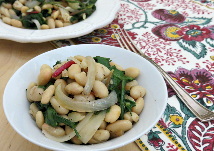 Garlicky Swiss Chard, Onion & Cannellini Bean Sauté