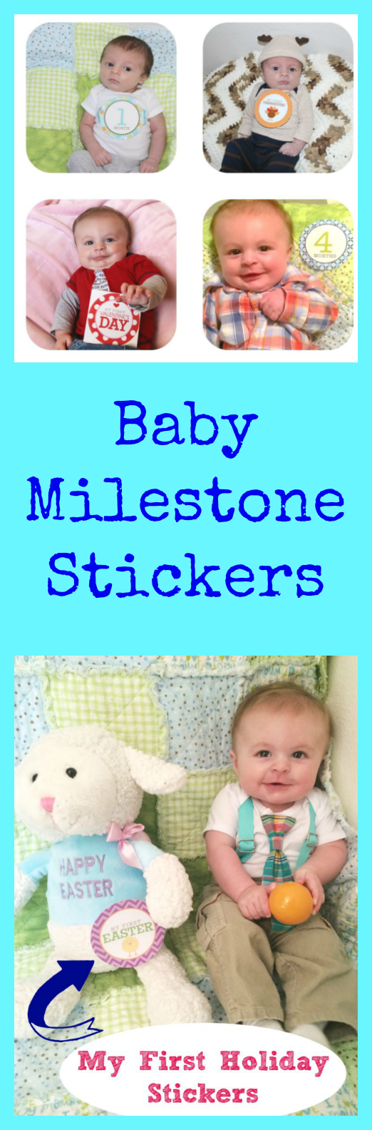 Celebrate baby's milestones by taking photos with baby monthly stickers. You can commemorate both each month of age, as well as their first holidays!