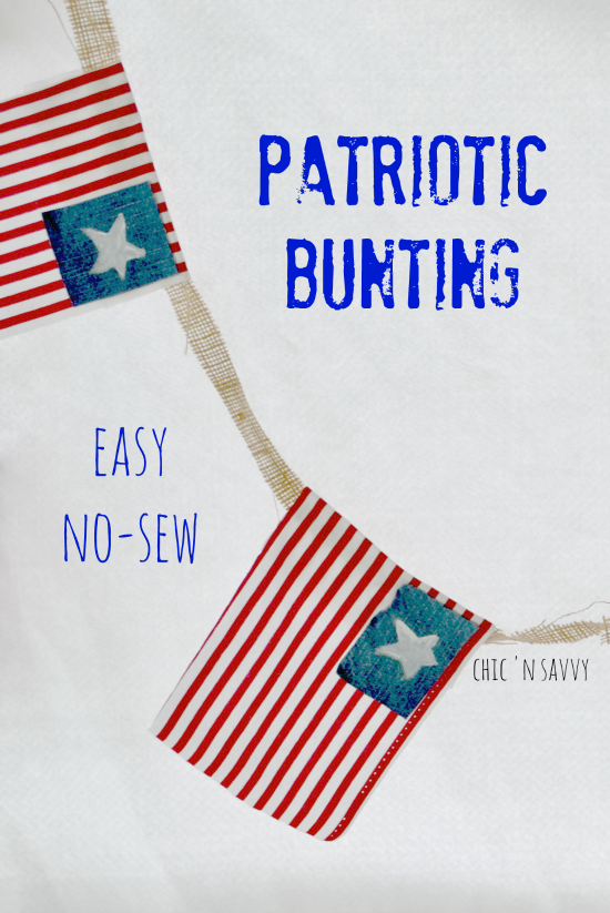 This DIY Patriotic Bunting Craft features easy to make flags using old blue jeans! It's a new-sew project perfect for Memorial Day or the 4th of July.