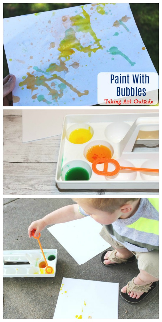 Have fun painting with bubbles with this outdoor craft art project!