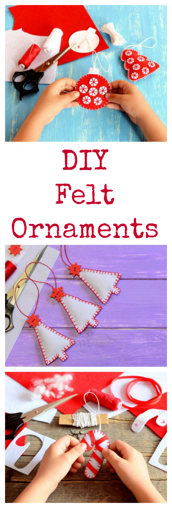 Homemade Felt Christmas Tree Ornaments are a fun, pretty and easy-to-make Christmas craft project for both kids and adults!