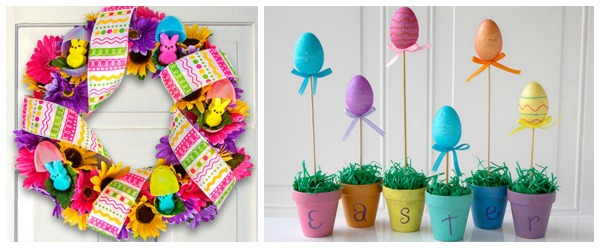 Stock up on easter basket fillers and supplies for just 1 each at dollartree also has some interesting easter craft project ideas like this peeps wreath or these easter egg topiaries what easter basket fillers and negle Choice Image