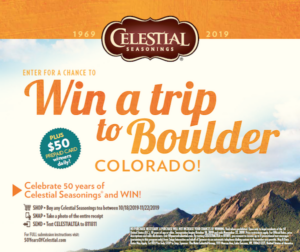 Celestial Seasonings Boulder Colorado Sweepstakes