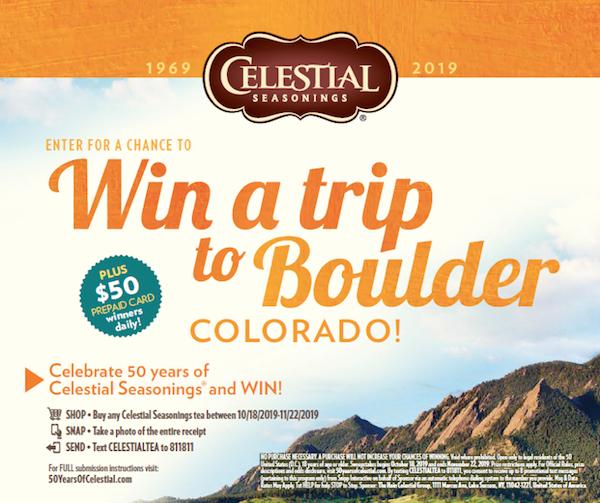 Celestial Seasonings Boulder Colorado Sweepstakes