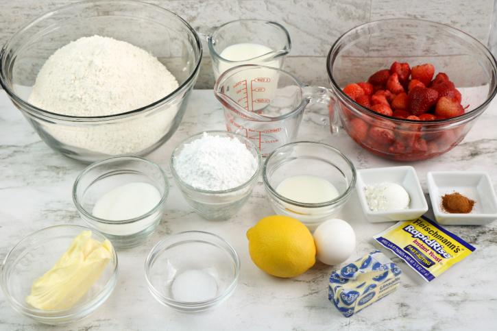Strawberry Cinnamon Roll Ingredients